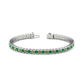 14K White Gold Bracelet with Green Tourmaline and Emerald