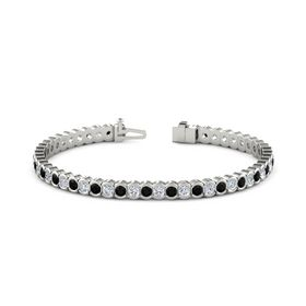 14K White Gold Bracelet with Black Onyx & Diamond