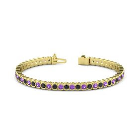 14K Yellow Gold Bracelet with Black Diamond and Amethyst