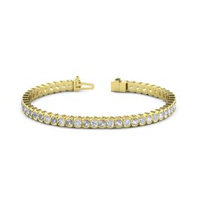 14K Yellow Gold Bracelet with Diamond & Rock Crystal