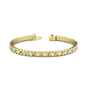 14K Yellow Gold Bracelet with Citrine & White Sapphire