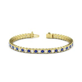14K Yellow Gold Bracelet with White Sapphire and Blue Sapphire
