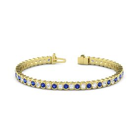 14K Yellow Gold Bracelet with Sapphire & White Sapphire