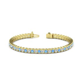 14K Yellow Gold Bracelet with Blue Topaz & Diamond