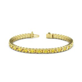 14K Yellow Gold Bracelet with Yellow Sapphire and Citrine