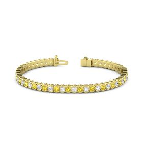 14K Yellow Gold Bracelet with Yellow Sapphire and White Sapphire