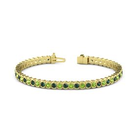 14K Yellow Gold Bracelet with Alexandrite and Peridot