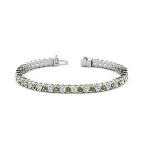 18K White Gold Bracelet with Green Tourmaline and Diamond