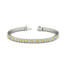 18K White Gold Bracelet with Yellow Sapphire and Diamond