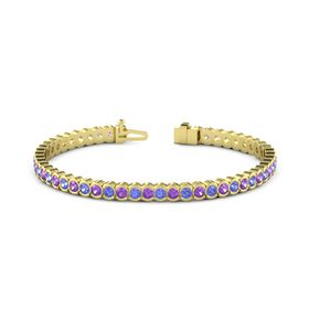 18K Yellow Gold Bracelet with Amethyst & Tanzanite