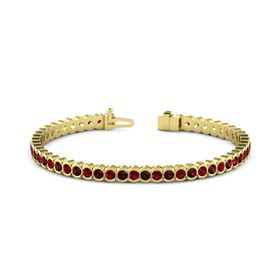 18K Yellow Gold Bracelet with Ruby & Red Garnet