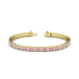 18K Yellow Gold Bracelet with Pink Tourmaline & Diamond