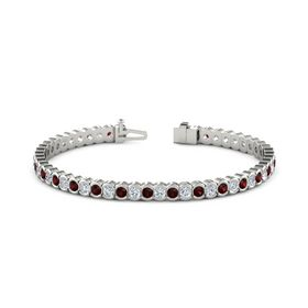 Palladium Bracelet with Red Garnet & Diamond