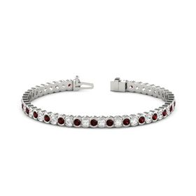 Palladium Bracelet with Red Garnet & White Sapphire