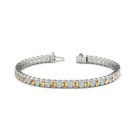 Palladium Bracelet with Citrine & Diamond