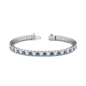 Platinum Bracelet with Aquamarine & Iolite