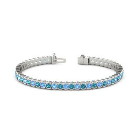 Platinum Bracelet with Blue Topaz and London Blue Topaz