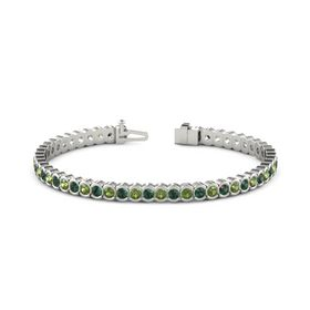 Platinum Bracelet with Alexandrite and Green Tourmaline