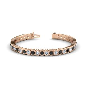 14K Rose Gold Bracelet with Black Diamond and Diamond
