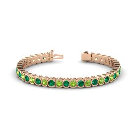 14K Rose Gold Bracelet with Emerald and Peridot