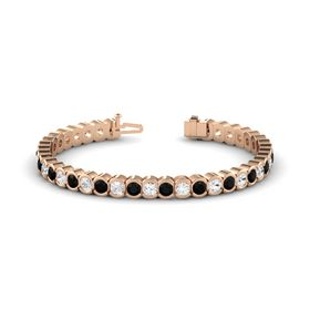 14K Rose Gold Bracelet with White Sapphire and Black Onyx