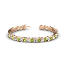 14K Rose Gold Bracelet with Peridot & Diamond