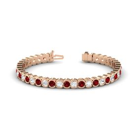 14K Rose Gold Bracelet with Ruby and White Sapphire