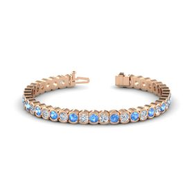 14K Rose Gold Bracelet with Blue Topaz and Diamond