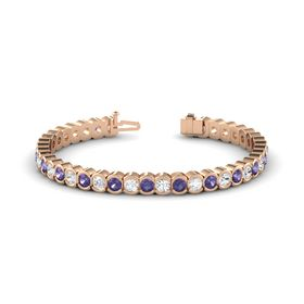 14K Rose Gold Bracelet with Iolite & White Sapphire