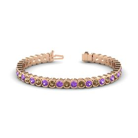 14K Rose Gold Bracelet with Smoky Quartz & Amethyst