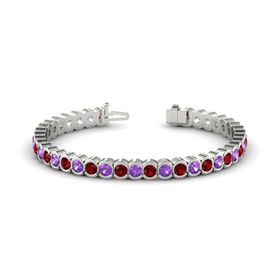 14K White Gold Bracelet with Amethyst and Ruby