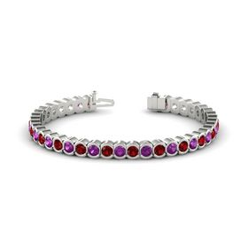 14K White Gold Bracelet with Rhodolite Garnet & Ruby