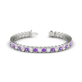 14K White Gold Bracelet with White Sapphire & Amethyst