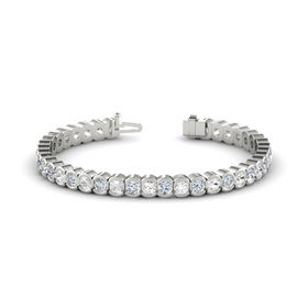 14K White Gold Bracelet with White Sapphire & Diamond