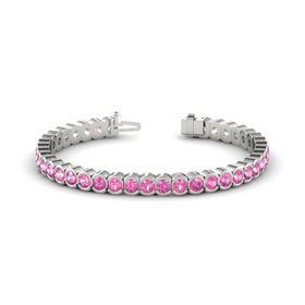 14K White Gold Bracelet with Pink Tourmaline and Pink Sapphire