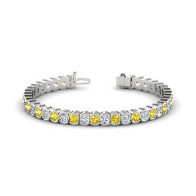 14K White Gold Bracelet with Yellow Sapphire and Diamond