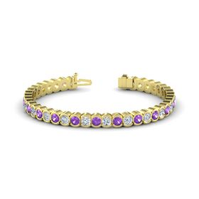 14K Yellow Gold Bracelet with Amethyst and Diamond