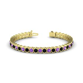 14K Yellow Gold Bracelet with Amethyst and Black Onyx