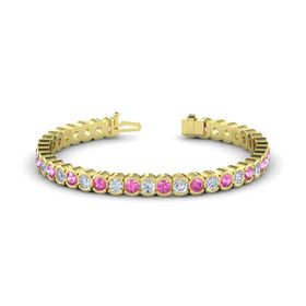 14K Yellow Gold Bracelet with Diamond & Pink Sapphire