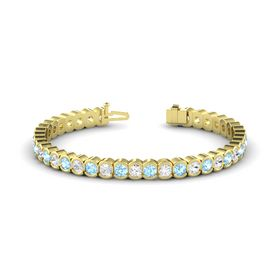 14K Yellow Gold Bracelet with White Sapphire and Aquamarine