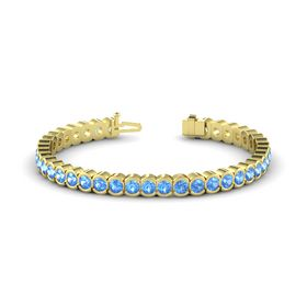 14K Yellow Gold Bracelet with Blue Topaz