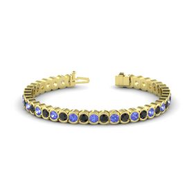 14K Yellow Gold Bracelet with Tanzanite & Black Diamond
