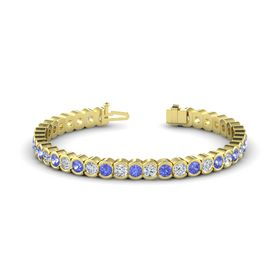 14K Yellow Gold Bracelet with Tanzanite & Diamond