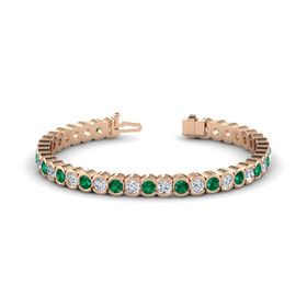 18K Rose Gold Bracelet with Emerald and Diamond