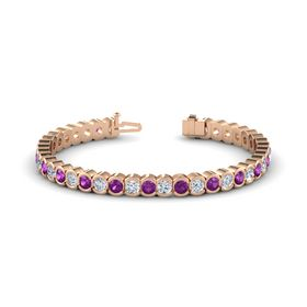 18K Rose Gold Bracelet with Rhodolite Garnet and Diamond