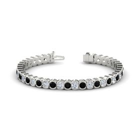 18K White Gold Bracelet with Black Onyx and Diamond