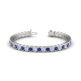 18K White Gold Bracelet with Sapphire & Diamond