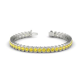 18K White Gold Bracelet with Yellow Sapphire