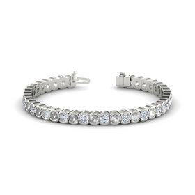 Palladium Bracelet with Rock Crystal & Diamond