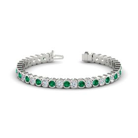 Palladium Bracelet with Emerald & Diamond